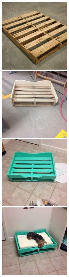 I want to do this, but make the cushion be something that can't hold fleas...we have outdoor puppies and have to throw out beds once the fleas come in season. DIY Wood Pallet Dog Bed