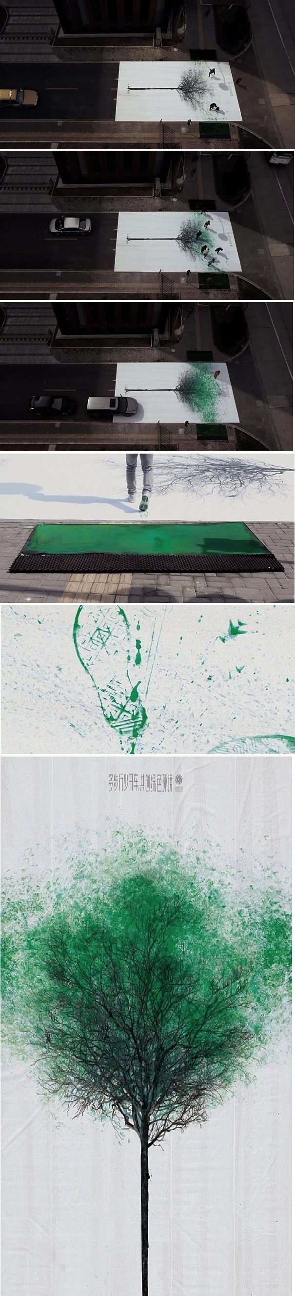 Painting a pedestrian crosswalk in China. Absolutely amazing!