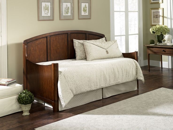 Simple And Neat Small Bedroom Decoration Using Pop Up Trundle Daybed Frames: Fascinating Furniture For Bedroom Decoration Using Beige Grey Bedroom Wall Paint Along With Light Grey Daybed Valance And Curved Solid Cherry Wood Pop Up Trundle Daybed Frames ~ fendhome.com Bedroom Inspiration