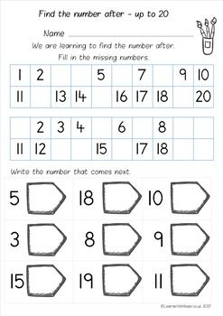 Number After to 10, 20 and 50 worksheet pack | Math | Numbers ...