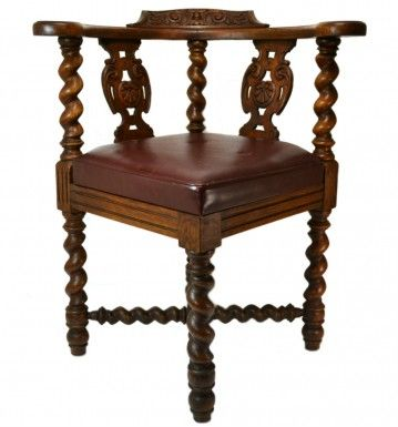 Carved Oak and Leather Library Armchair, Antique English Victorian, circa 1880