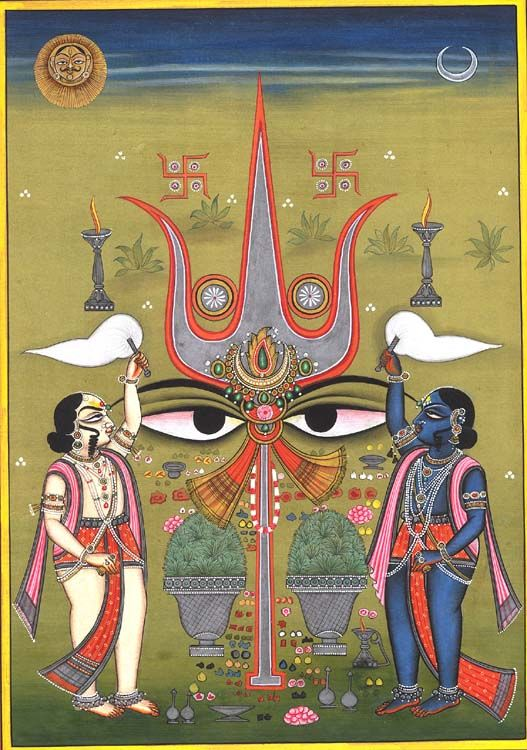 Shiva Shakti, Miniature Painting On Paper, Kailash Raj. Re-interpreting the religious thought and creating fresh compositions. Shiva's trishula and Shakti's eyes form a powerful combination. Two attendants in contrasting colours stand attendance - the colours symbolizing the gunas that they possess. The good and the evil are as much part of each other as Shiva and Shakti. Offerings of flowers, fruit and incense are made. Lamps used in the ritual worship also find place in the painting.