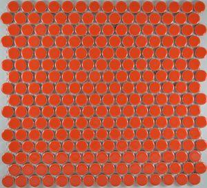 Product ID:MCP116 3/4X3/4 Penny Rnd Orange Glossy #Profiletile