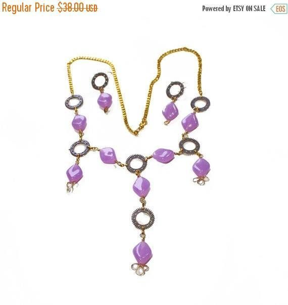 On Sale Lariat Beaded Necklace featuring acrylic Oval