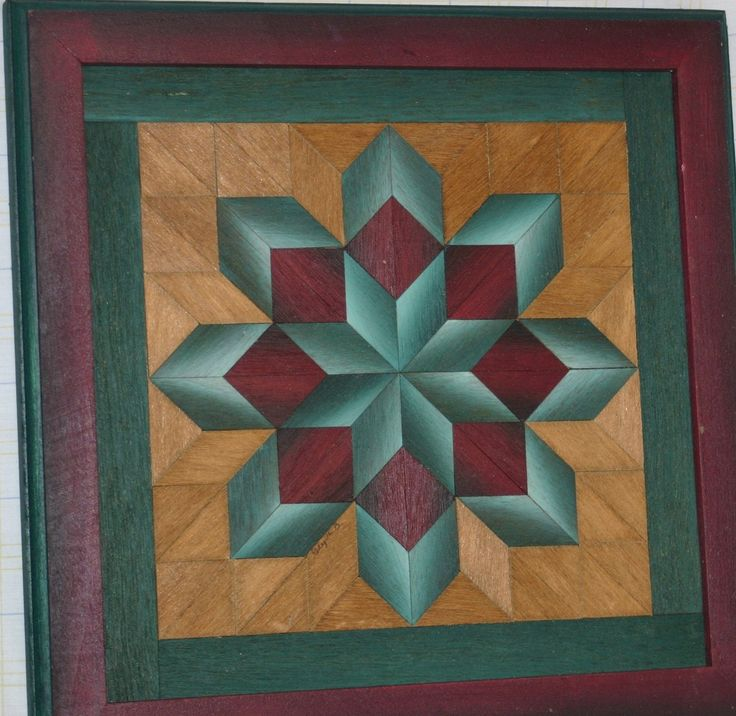 2 WOOD QUILT Framed Art by UNIQUELY JEWELL Vibrant Amish Color-Signed Parquetry | eBay