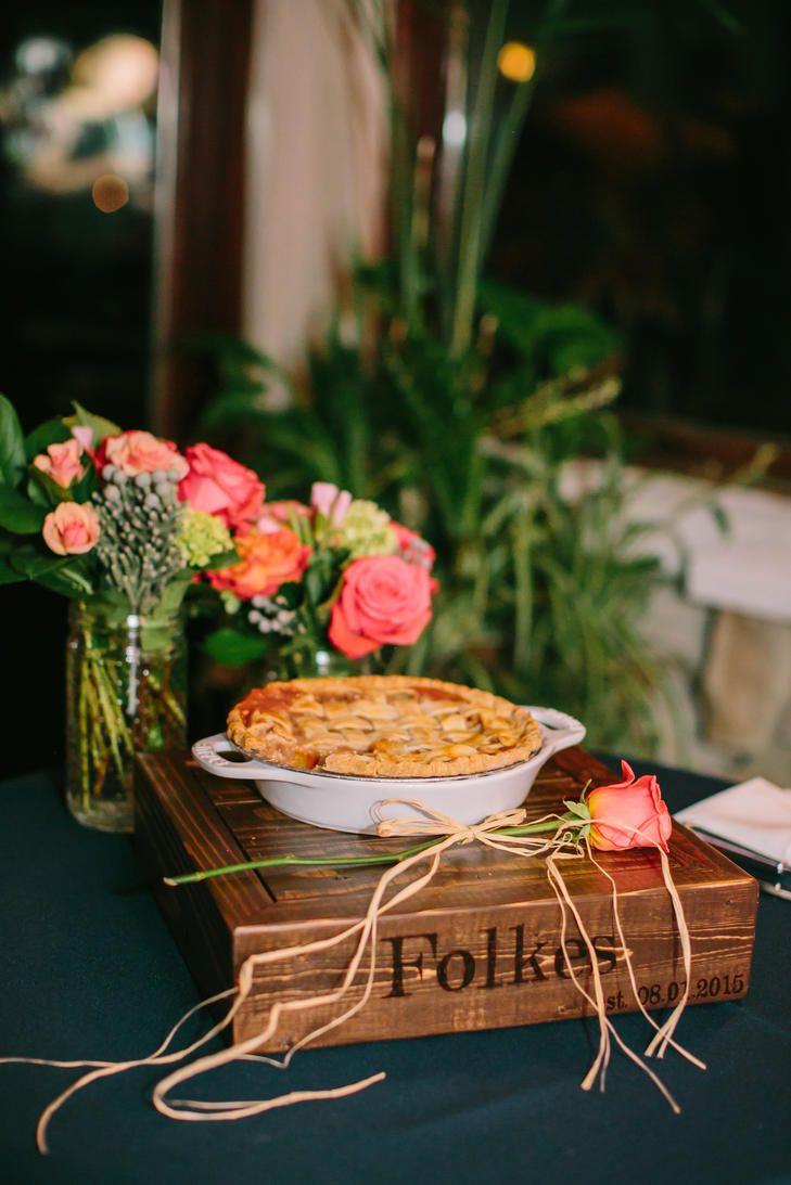 Homemade Peach Pie Wedding Dessert   LOVE & LIGHT PHOTOGRAPHS   MARKET PLACE AT ROXBURY   https://www.theknot.com/real-weddings/a-preppy-wedding-at-ballyowen-golf-club-in-hamburg-new-jersey-album