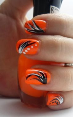 20 Beautiful Orange Nail Art Designs