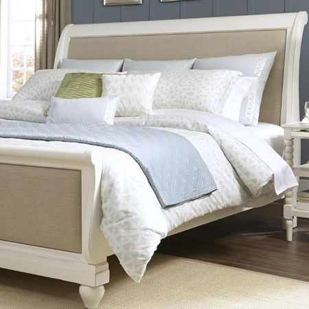 Slumber in sophisticated style with this sleigh-style bed, featuring linen upholstered panels and bun feet. Pair it with crisp sheets and fluffy comforter fo...