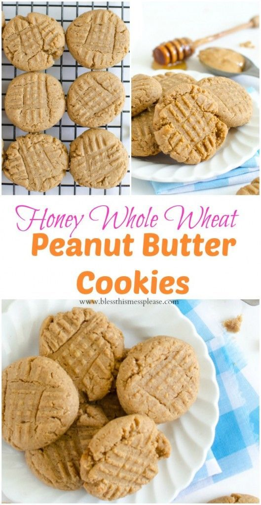 "Honey Sweetened Peanut Butter Cookies (whole wheat flour) ~  These cookies are easy to make, made with great ""whole food"" ingredients, and taste AWESOME!"