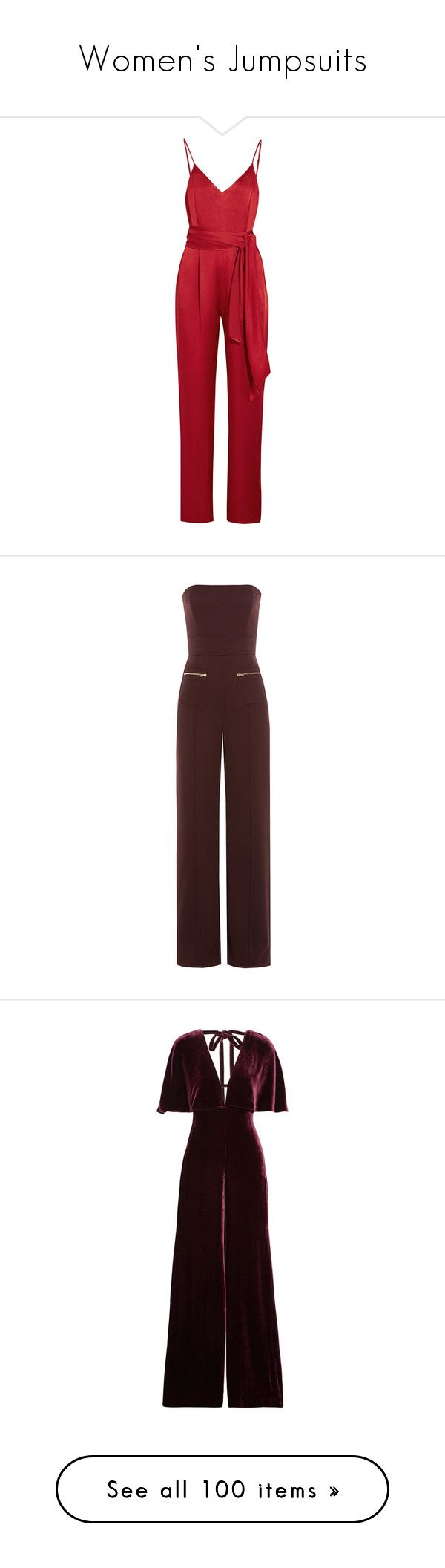 """""""Women's Jumpsuits"""" by danielle-valentine-666 ❤ liked on Polyvore featuring jumpsuits, jumpsuit, dresses, rompers, pants, playsuits, red, red satin romper, red jumpsuit and jump suit"""