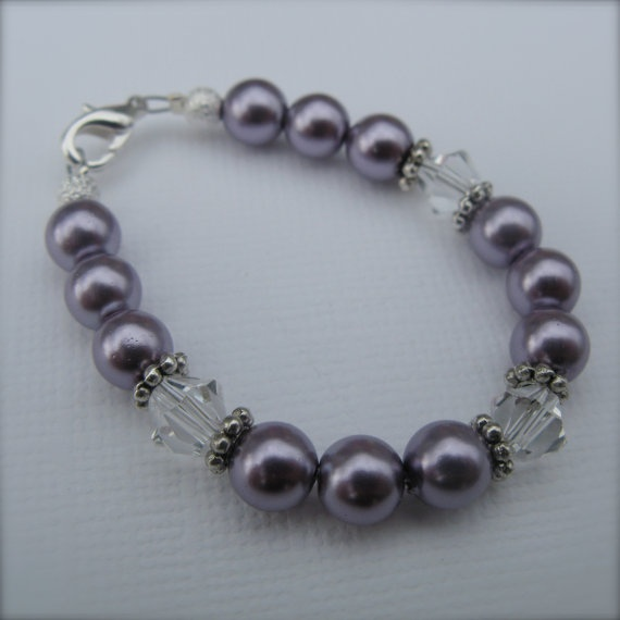 Princess Pearl Baby Bracelet in Dark Lilac by MelBellesBling, $7.00