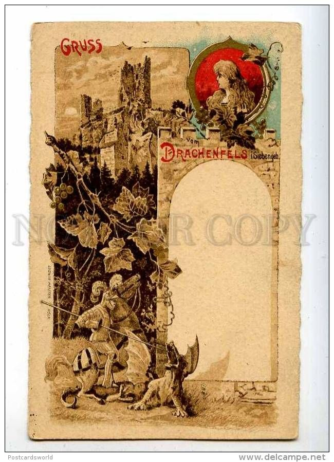 215322 GRUSS Vom DRACHENFELS Siebengebirge DRAGON Vintage PC - Illustrators & Photographers