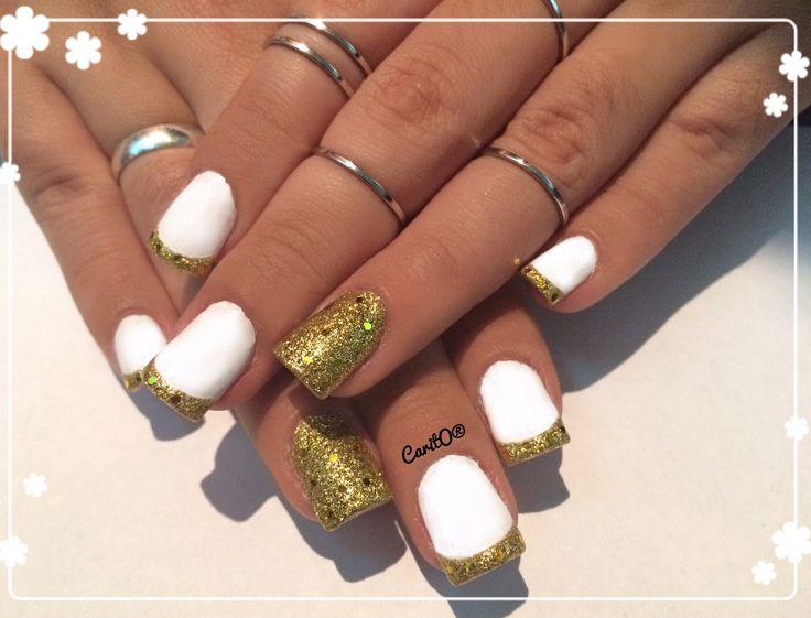 French glitter nails design, white manicure, gold glitter nails