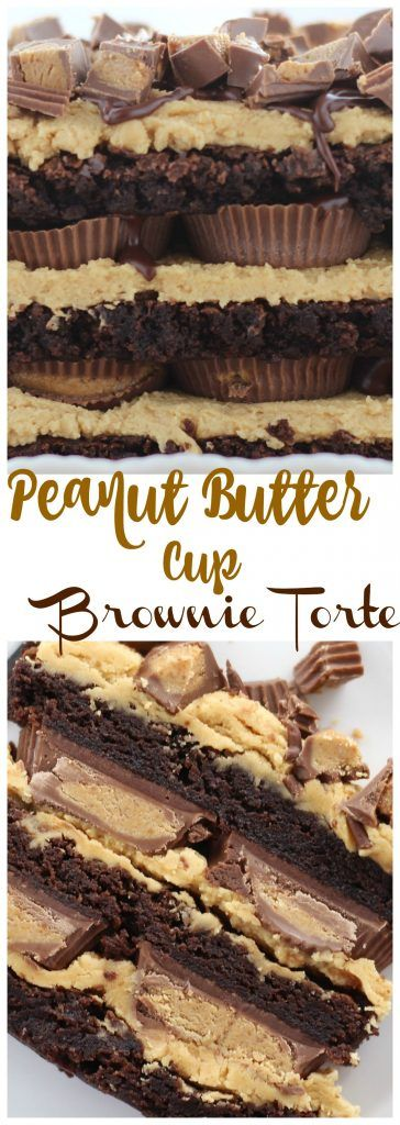 Sinful, fudgy brownies are layered with rich, fluffy peanut butter buttercream, Reese's cups, and chocolate ganache. This is the ULTIMATE in chocolate and peanut butter heaven!