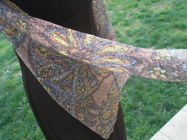 70s Brown Maxi Dress with Colored Lace by GirlyVintageByDeJaVu, $29.00