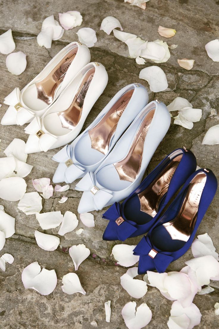SOMETHING BLUE: Walk up the aisle in style and opt for a navy blue satin pump for your wedding shoe choice. #WedWithTed @TedBaker