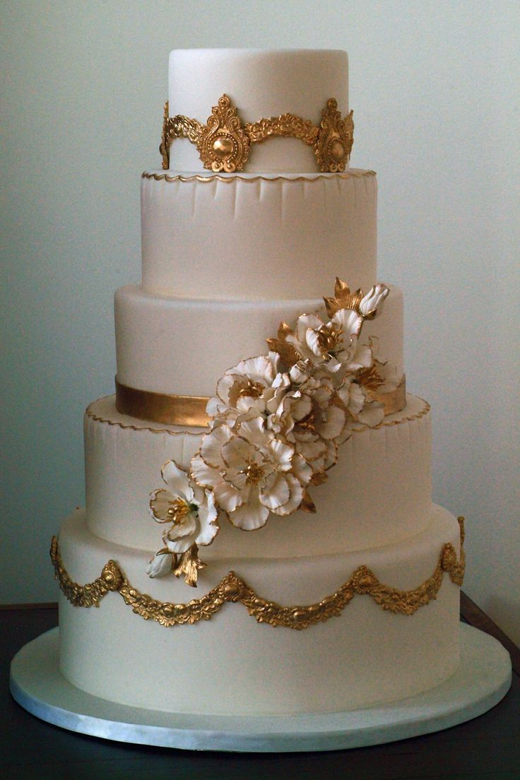 Gilt decorated cake by Elysia Root Cakes.  Picture by Dance of Life Photography.