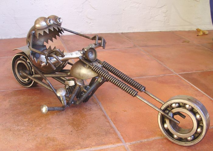 Motorcycle Riding Gnome Be Gone Metal Garden Sculpture