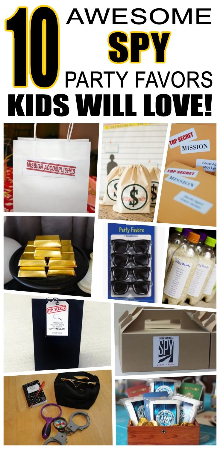 Great spy party favors kids will love. Fun and cool spy birthday party favor ideas for children. Easy goody bags, treat bags, gifts and more for boys and girls. Get the best spy birthday party favors any child would love to take home. Loot bags, loot boxes, goodie bags, candy and more for spy party celebrations.