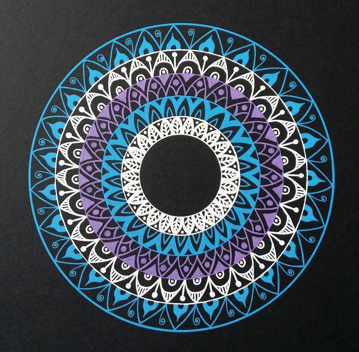 - Blue/Purple/White mandala - Drawn freehand - Gellyroll Moonlight pens from Sakura