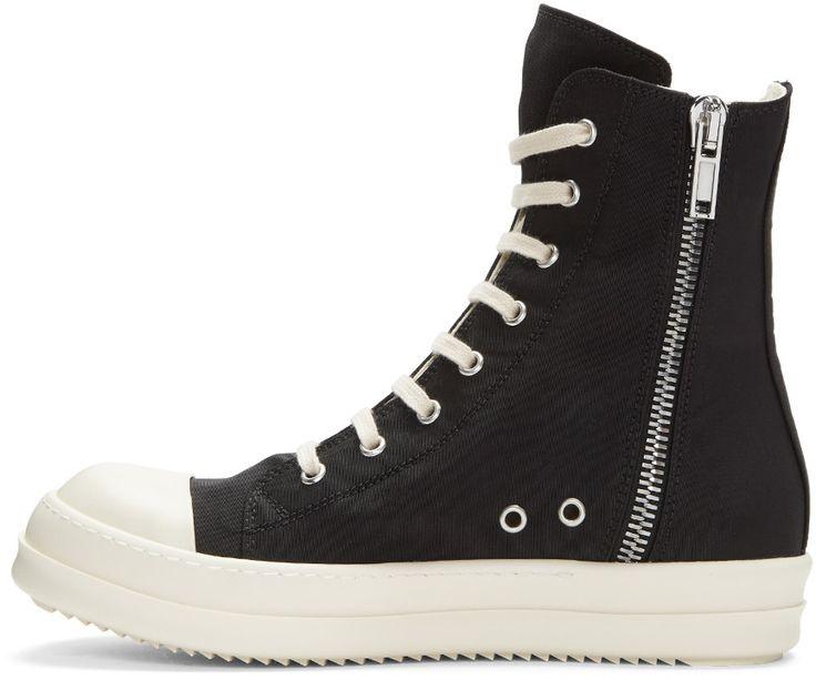 Rick Owens Drkshdw - Black Nylon High-Top Sneakers