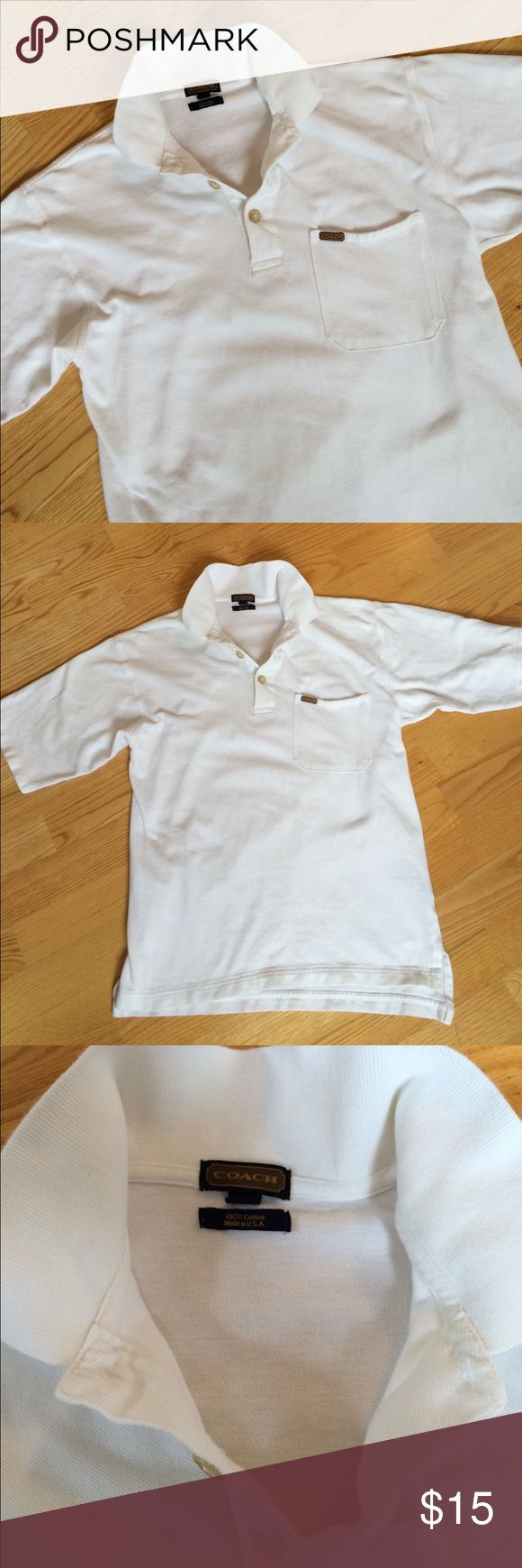 "White Coach Small Polo shirt with pocket 20"" across, shoulder to hem is 26. Stain on left shoulder shown in photo. No holes. Back hem longer then front. Pop a collar and be on your way. Coach Shirts Polos"