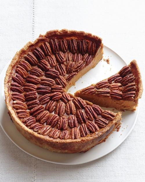Pumpkin or Pecan? No need to choose with Mile-High Pumpkin-Pecan Pie.