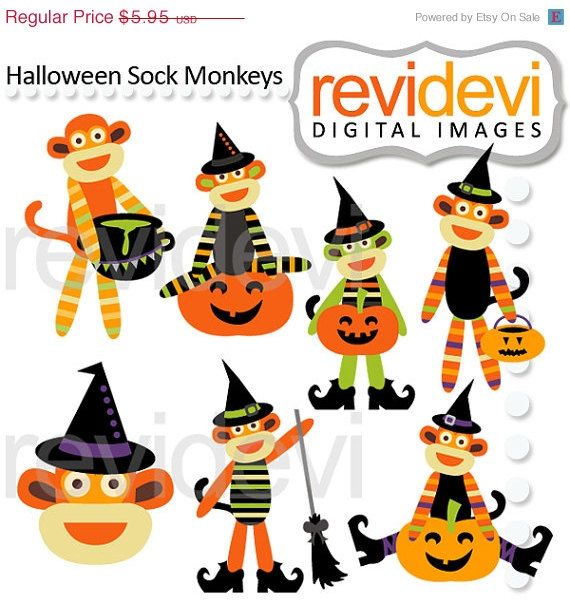 55 OFF Cliparts Halloween Sock Monkeys 08122 Instant by revidevi