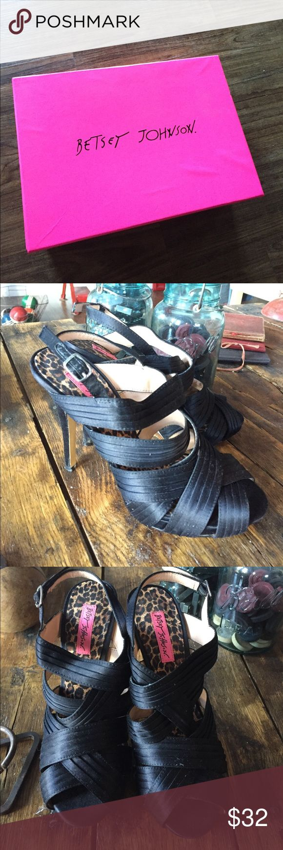 """Betsey Johnson """"Eden"""" black satin sling sexy These are satin, black and sexy. High heeled platform will make you stand tall, about 4 inches taller. Worn a few times. Boy, if these could talk. (1/2 sale this weekend) Betsey Johnson Shoes Heels"""