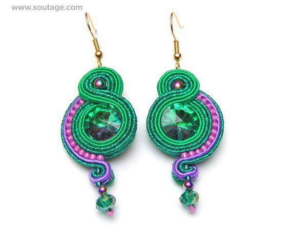 Green egiptian earrings soutache embroidered