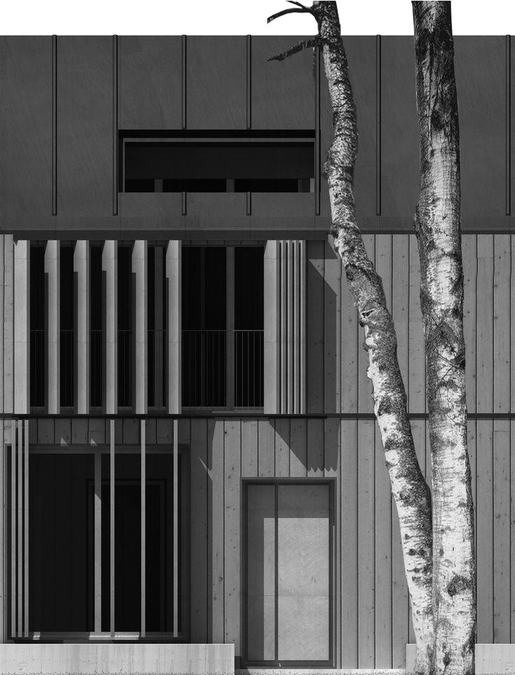 OPERASTUDIO - Project - Social housing in Switzerland - elvation #material #wood #steel #tree