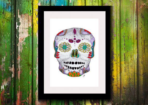 Wall Art, Drawing, Illustration, Zentangle Inspired, Patterns, Art, Print, Home Decor, Modern, Creative, Gift Idea, Skull, Sugar Skull