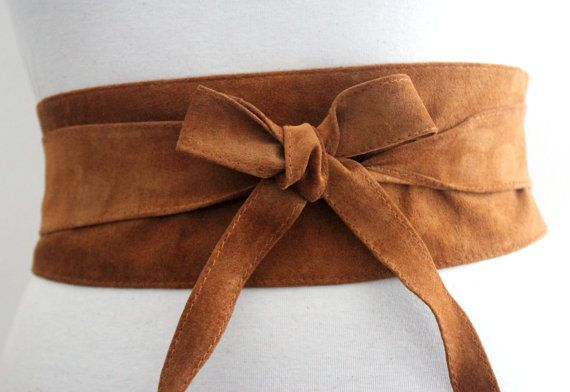 Tan Belt  Tan Suede Obi Belt  Waist Belt  Sash Tie by LoveYaaYaa