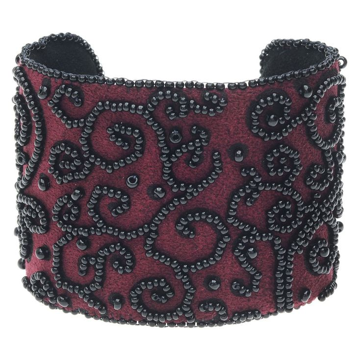 A gorgeous nod to hand embroidered gowns, this cuff evokes luxury with its soft ultrasuede backing.  Lillypilly Designs provides a patterned ultrasuede that makes this a design that is easy to wear and easy to follow.