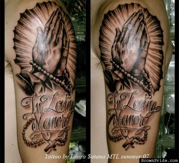 Download Free In Loving Memory Praying Hands Tattoo Designs to use and take to your artist.