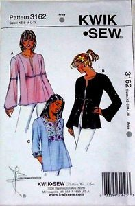 KWIK-SEW 3162 Flare Flowing Sleeves Tops Misses sizes XS - XL NEW UNCUT