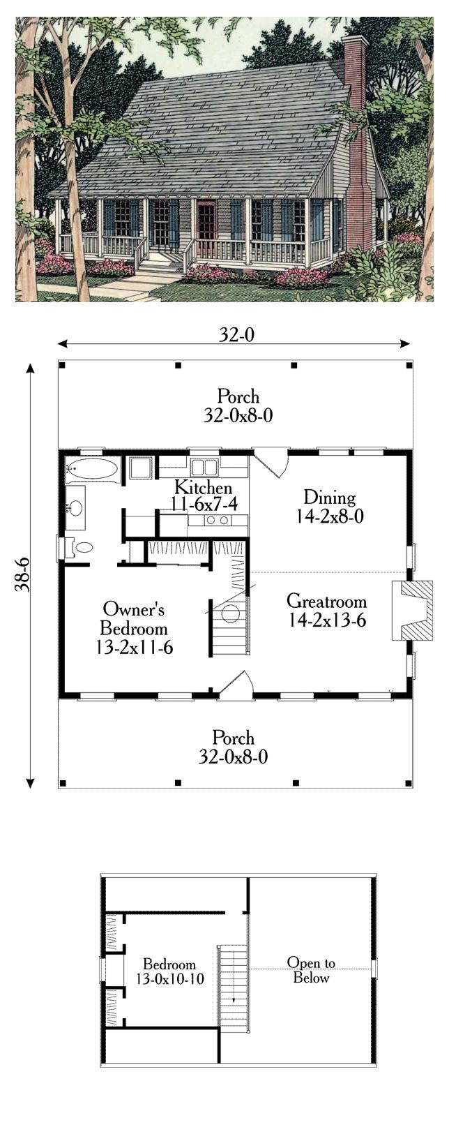 Cabin Country Southern House Plan 40025 91
