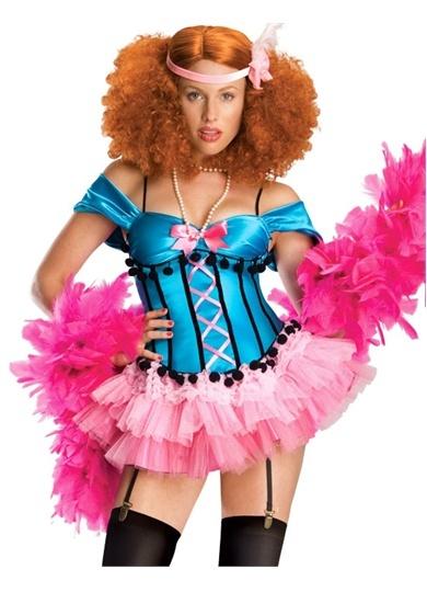 Burlesque Doll Blue, Pink Tutu ShowGirl Costume