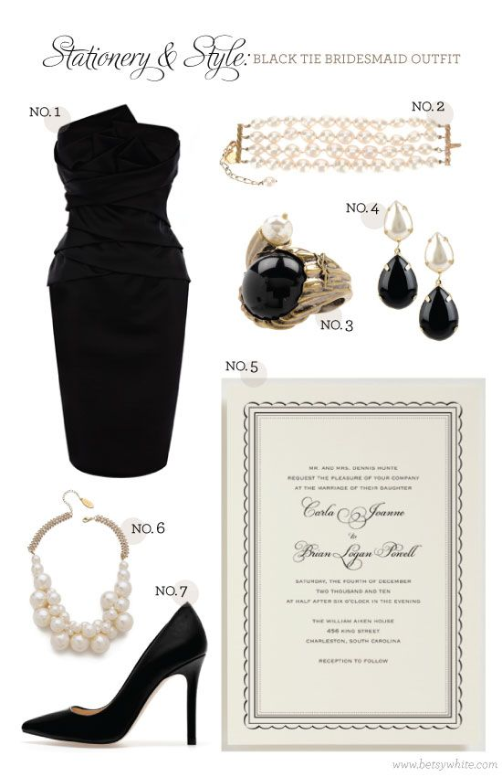 Stationery & Style: Black Tie Bridesmaid Outfit featuring our 'Emmy' wedding invitation