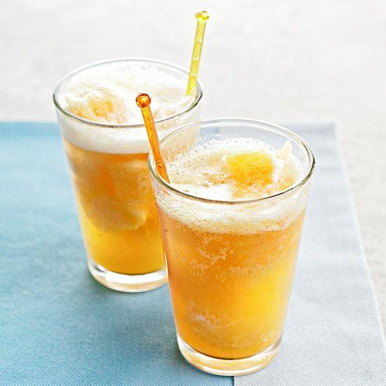 Sparkling Peach Punch: Fresh Peach, Summer Drinks, Drink Ideas, Peach Punch, Ginger Ale, Lemon Juice