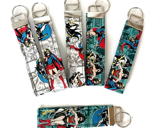 Fabric key fob, gift for her, Supergirl,  best friend gift,  best geeky gifts, geeky anniversary, wonder woman gifts, geeky gift, comics,