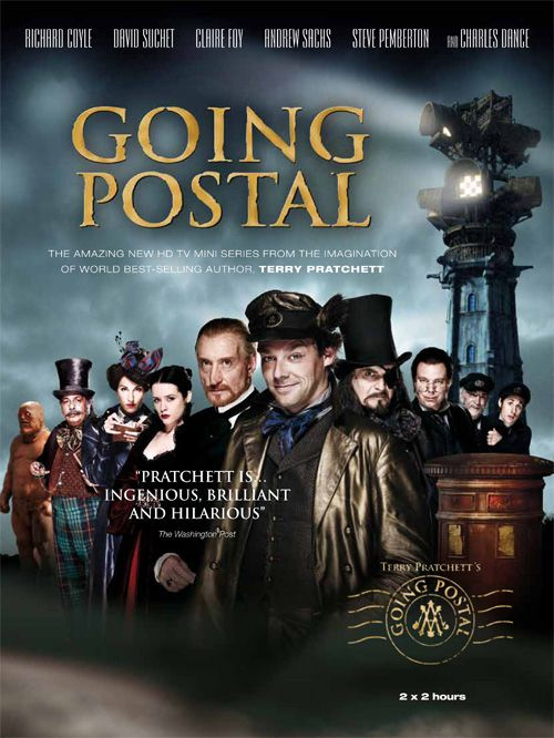 """Going Postal""(2010).Directed by Jon Jones.Starring:Richard Coyle,David Suchet,Claire Foy.It's a two-part film.A fantasy story about a brilliant swindler Moist von Lipwig , who had to lead the Post Office. Recommended age-16+"