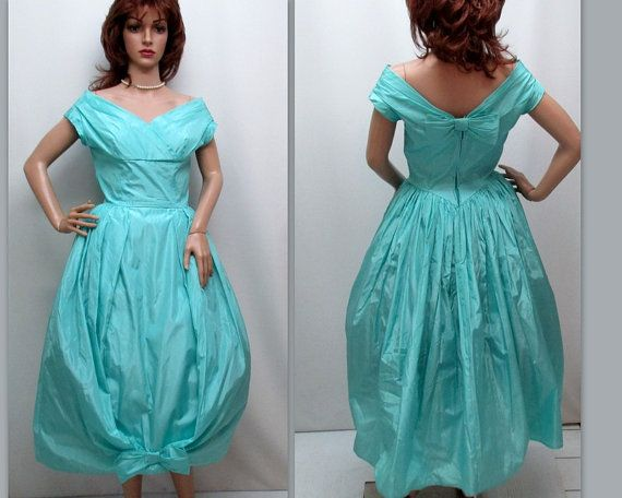 Vintage 50s Teal Party Dress 50s Mid Century by RosasVintageFinds