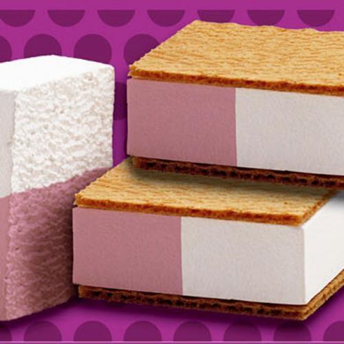 Barra de helado de fresa y nata