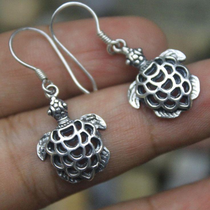 925 Sterling Silver Turtle Design 35mm Dangle Bali Earring Bali Handmade