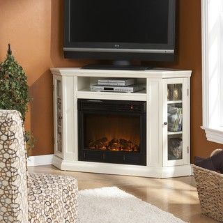 Harper blvd belvedere ivory media console fireplace by for Indoor corner fireplace