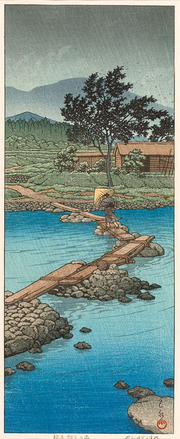 Date unknown - Hasui, Kawase -  Rainy Day in Hataori, Shiobara.