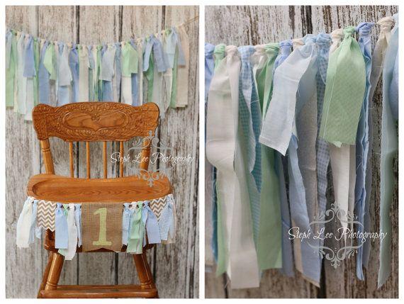 SET Blue Green White Highchair 1st / First Birthday Fabric Strip Banner, Newborn Photography Banner, Rag Garland, Fabric Strips