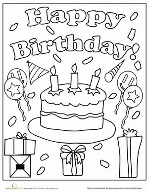 Birthday Coloring Pages Worksheet