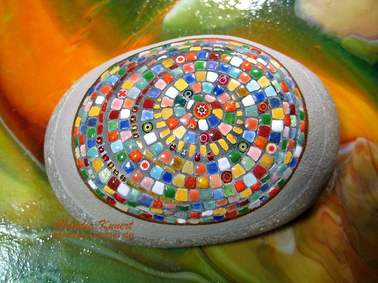 'Colorful' mosaic art on the rock
